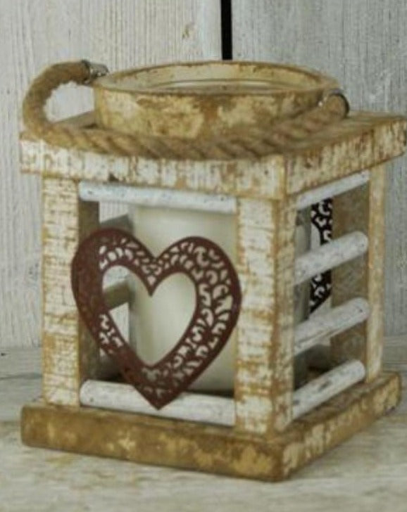 Large Whitewashed Wooden Heart Lantern | TBI