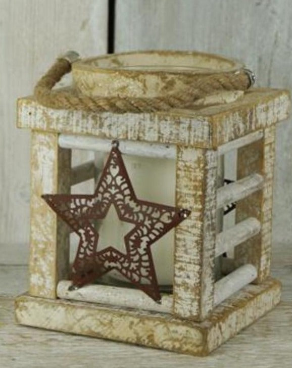 Large Whitewashed Wooden Star Lantern | TBI