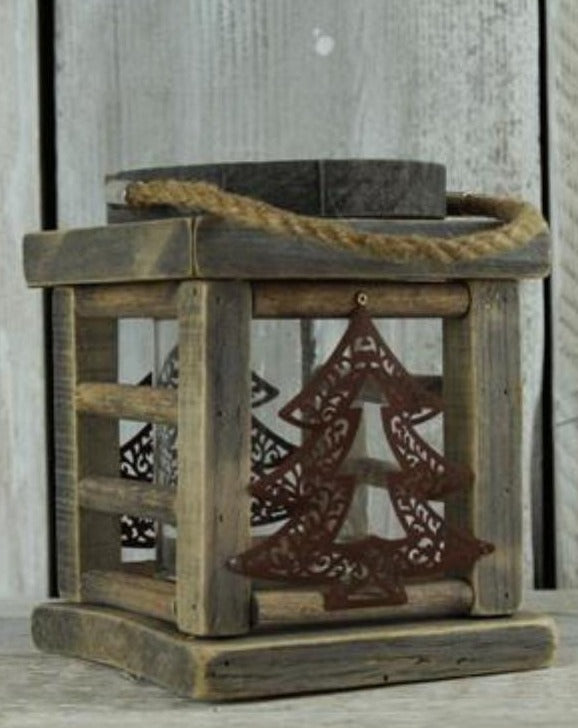 Large Wooden Christmas Tree Lantern | TBI