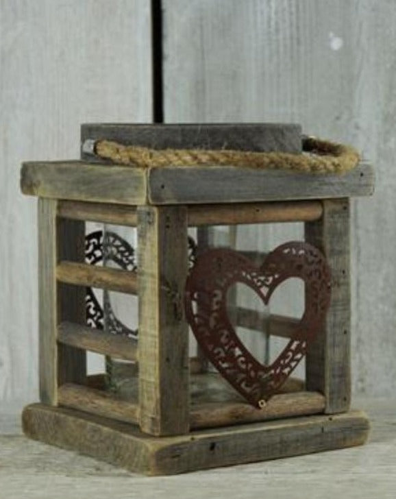 Wooden Christmas Heart Lantern | TBI
