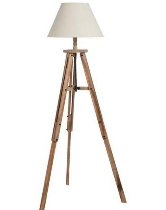 Wooden Tripod Floor Lamp Industrial | TBI