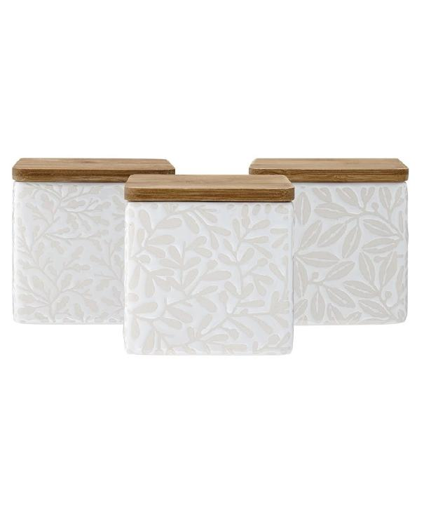 3 White Pattern Storage Containers | TBI
