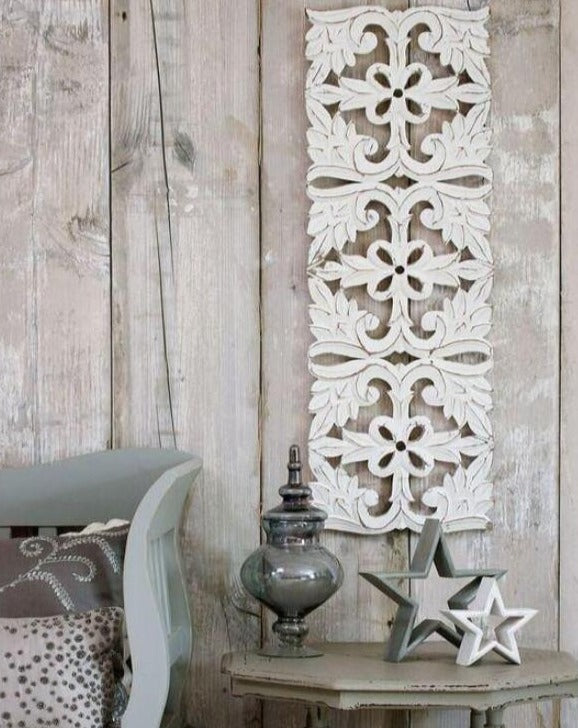 Decorative Long White Carved Wall Panel | TBI