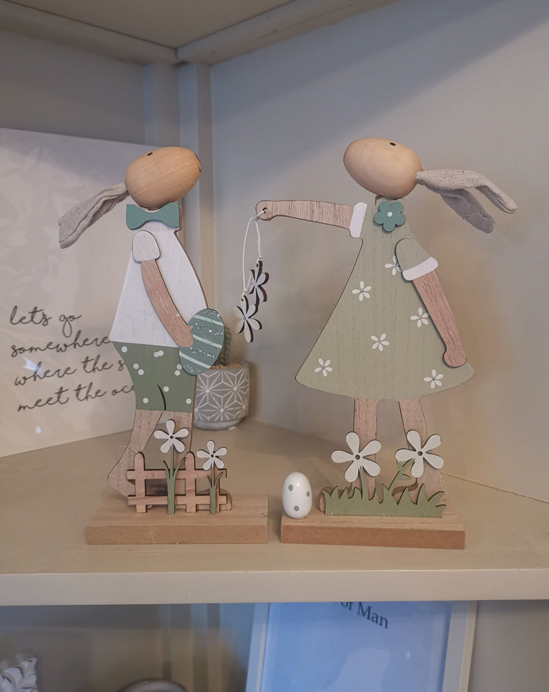 Wooden boy & girl rabbits - The Burrow Interiors