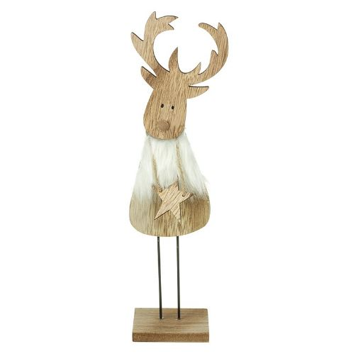 Standing Wooden Reindeer with Star - TBI