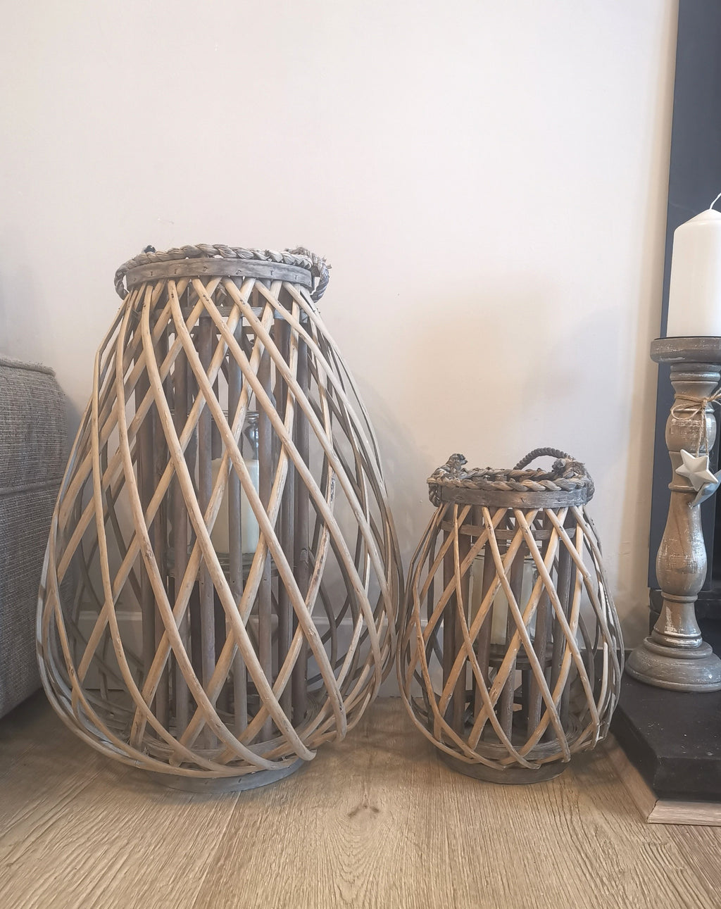 Rustic Wicker Domed Lanterns - TBI