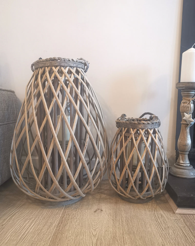 Large Rustic Wicker Lantern - TBI