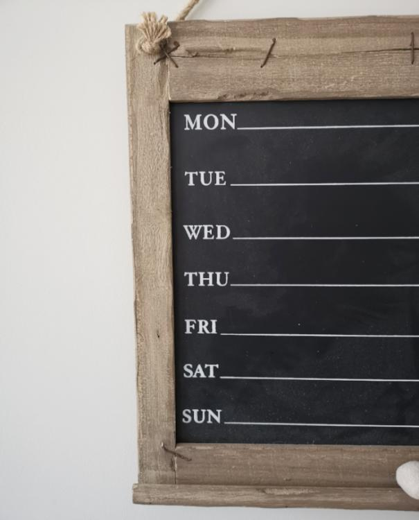 Rustic Wooden Daily Chalkboard with Eraser | TBI