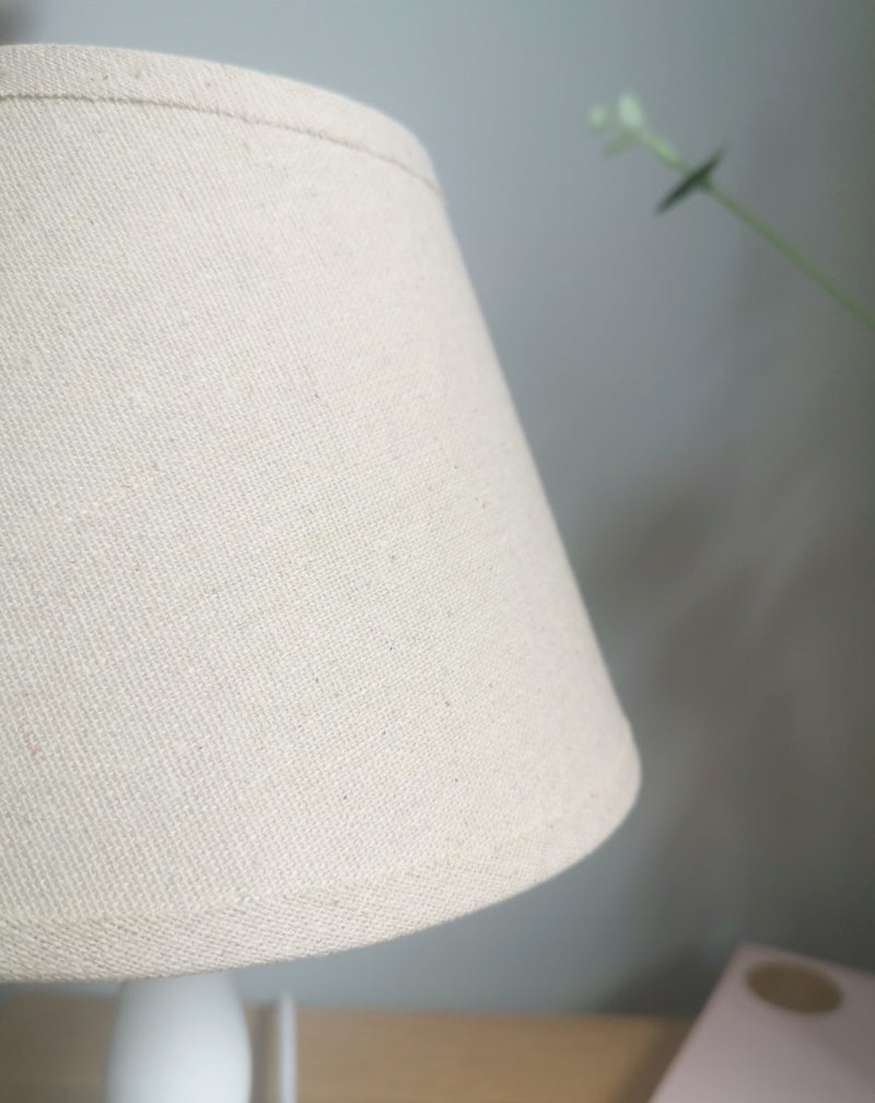 White Table Lamp Hessian Lampshade - TBI