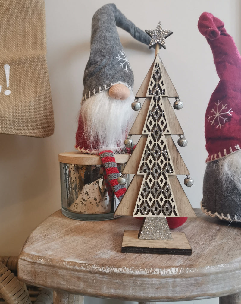 Wooden Tree Accessory with Silver Bells - TBI