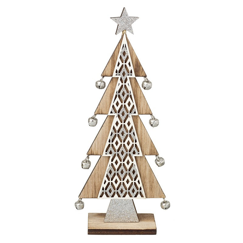 Standing Wooden Tree with Silver Bells - TBI