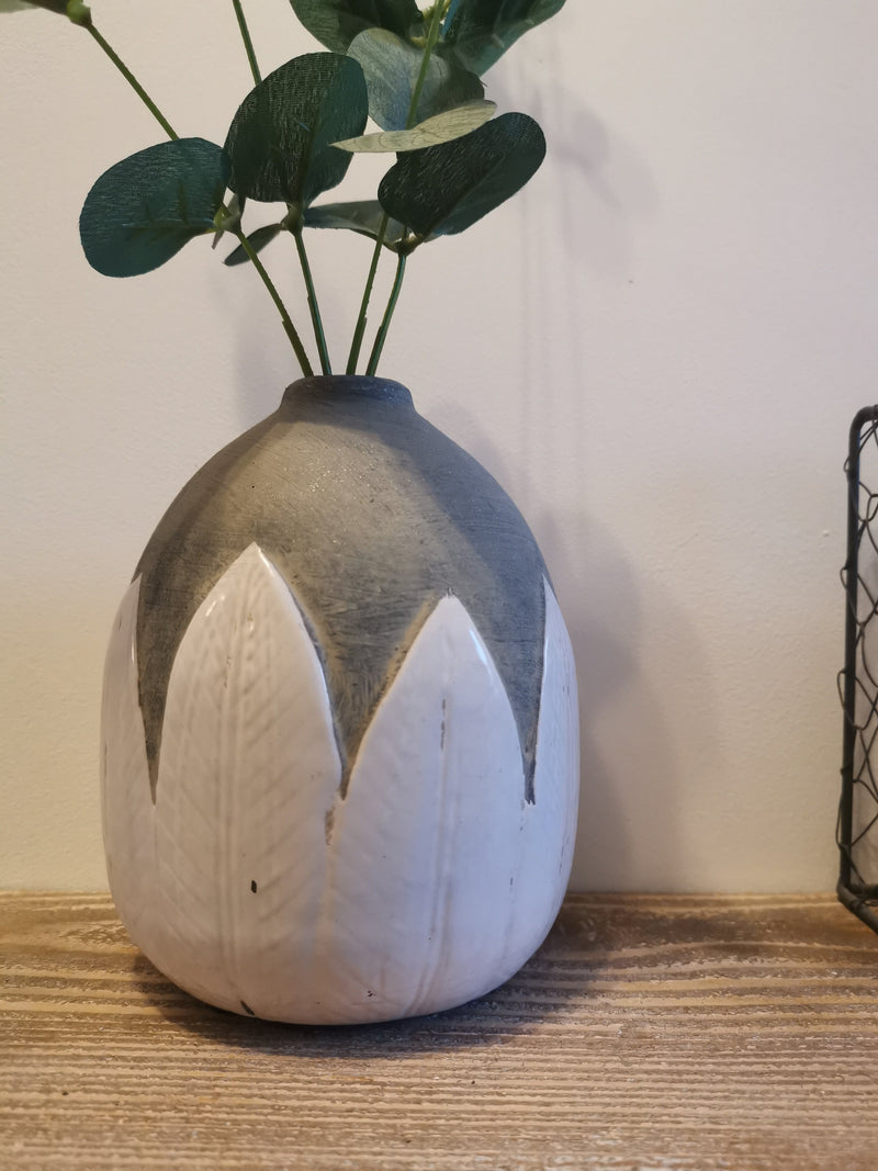 Grey Terrocotta Leaves Vase - The Burrow Interiors