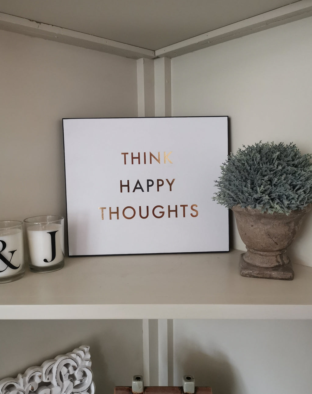 Metallic Happy Thoughts Wall Art - TBI