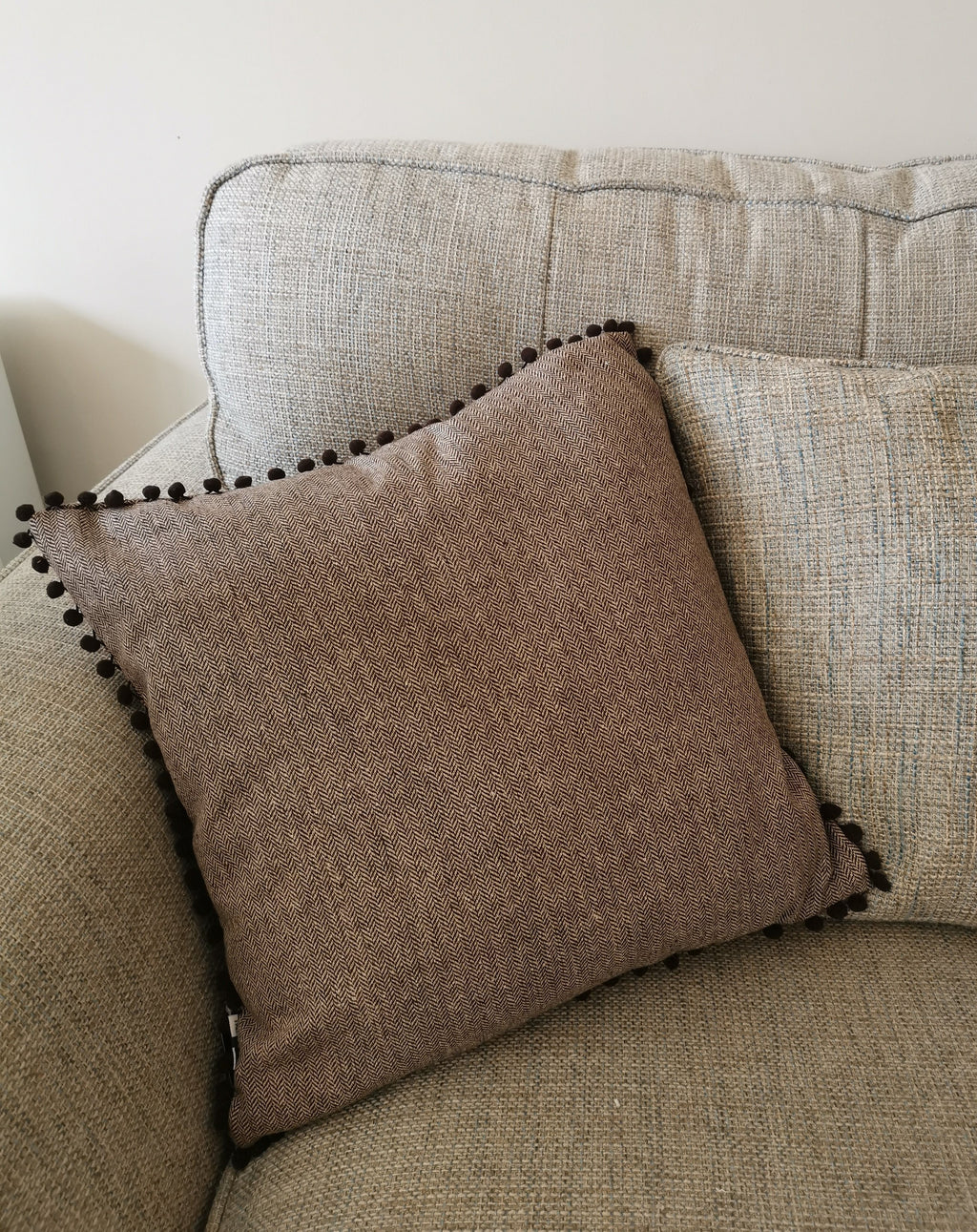 Truffle Cushion with Pom Pom Trim - TBI