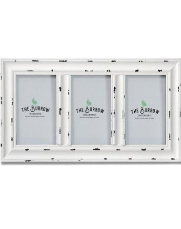 White Distressed 3 Way Photo Frame | TBI