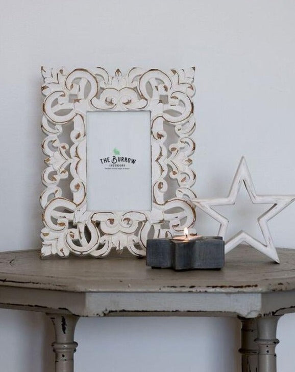 White Intricate Carved Photo Frame | TBI