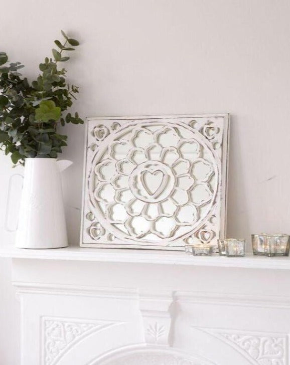 Decorative Carved Heart Mirror | TBI