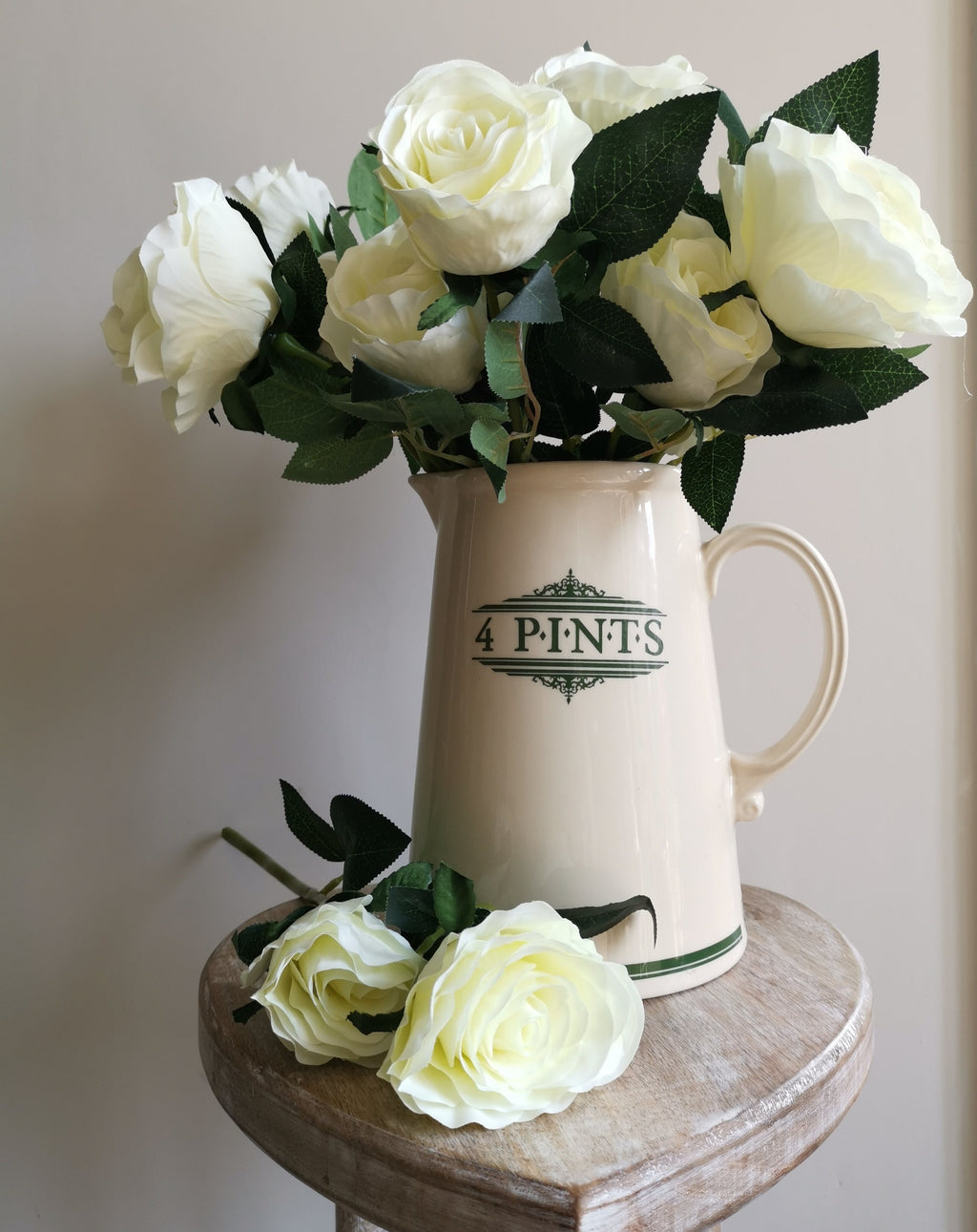 White Double Head Rose Stem - TBI