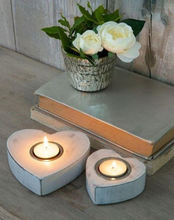 Wooden Heart Tea Light Candle Holders | TBI