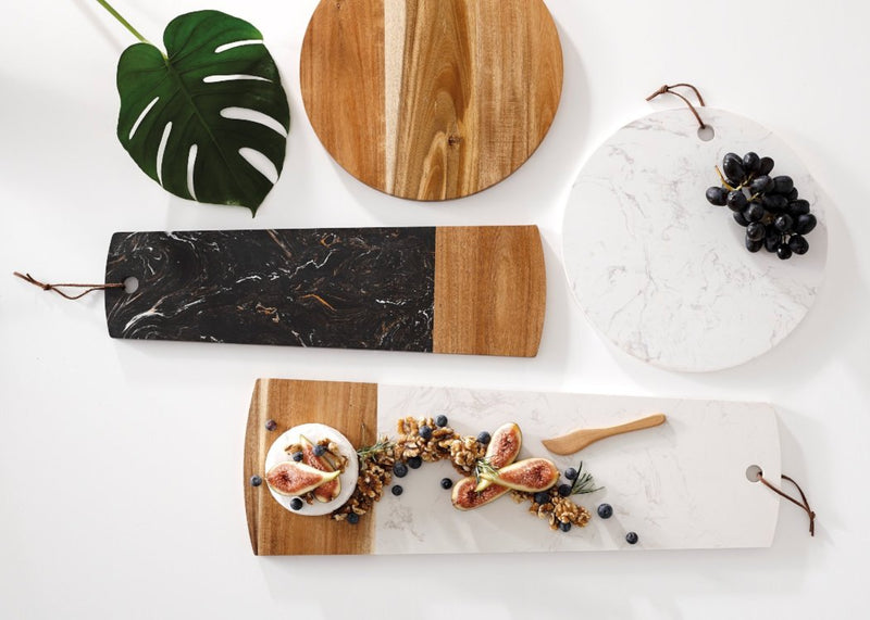 Acacia Wood & Marble Serving Boards | TBI