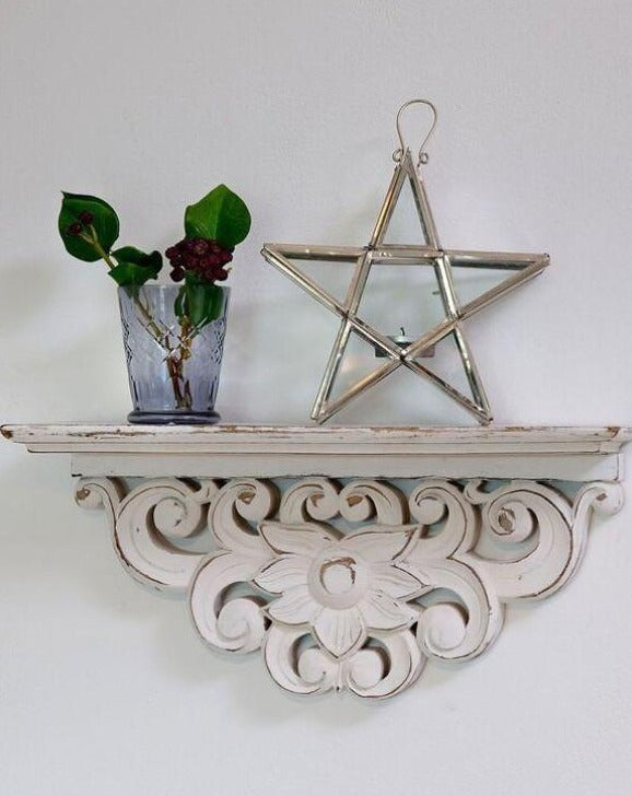 Hand Carved Morroccan Wooden Shelf | TBI