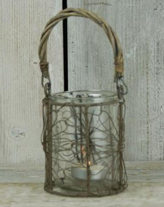 Wired Basket Christmas Candle Holder