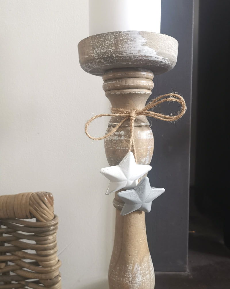 Wooden Candlestick with Stars