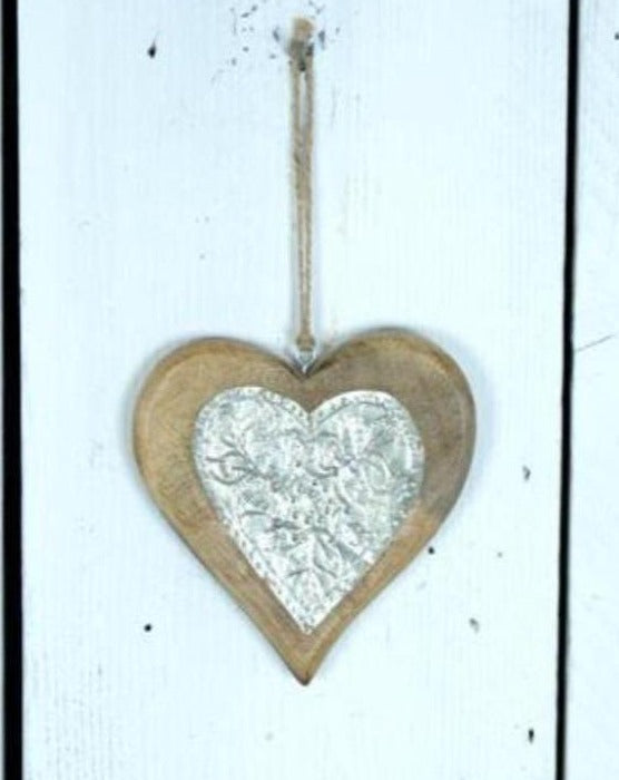 Wooden Hanging Heart with Metal Detail | TBI