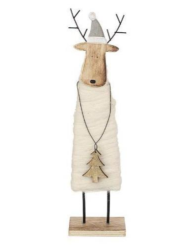 Standing Wood & Wool Deer - TBI