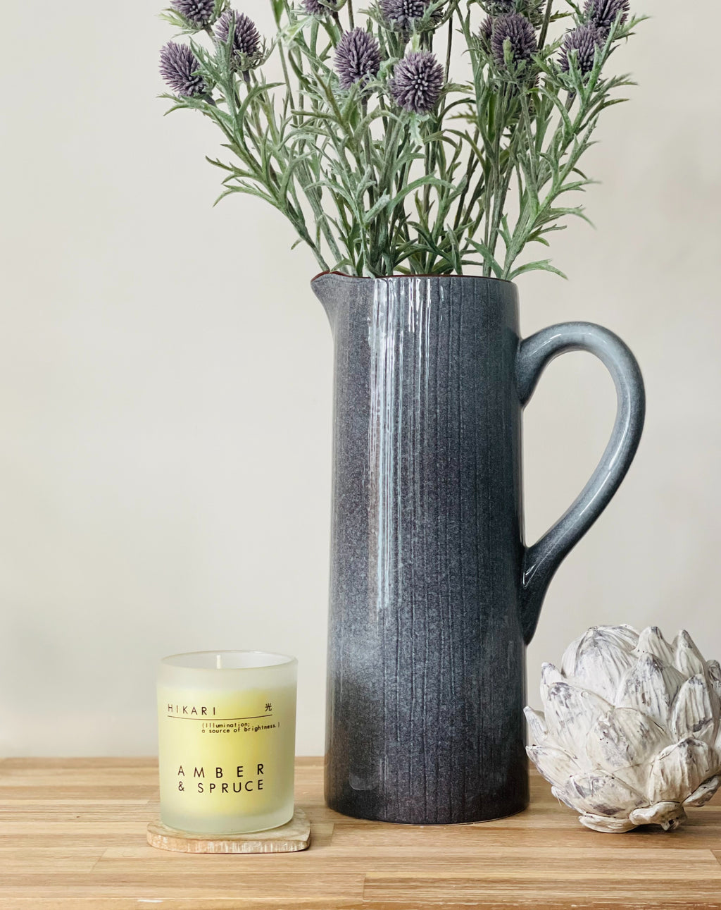 Grey Tall Lined Jug - TBI