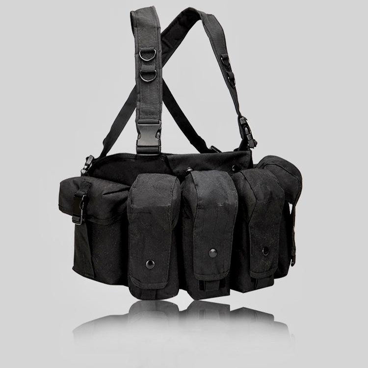 EMPTACSPLY Universal AR AK Chest Rig, Black, For Training, Hunting, Airsoft, Operation