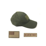 EMPTACSPLY OD Green Tactical Cap Bundle with USA Flag Patches, Durable OD Green Hat With Moral Patches, Adjustable Tactical Cap Fit Most
