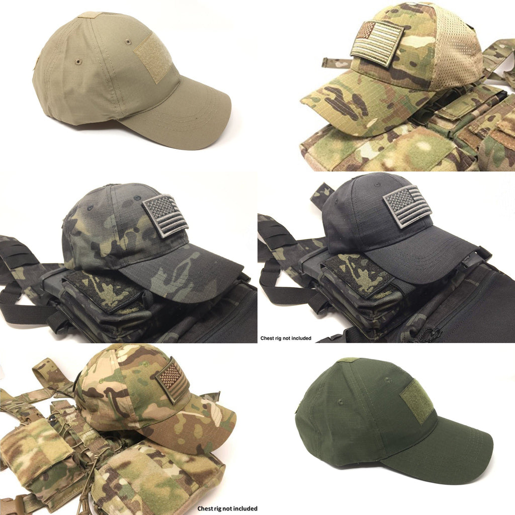 EMPTACSPLY Tactical Cap Bundle with USA Flag Patches
