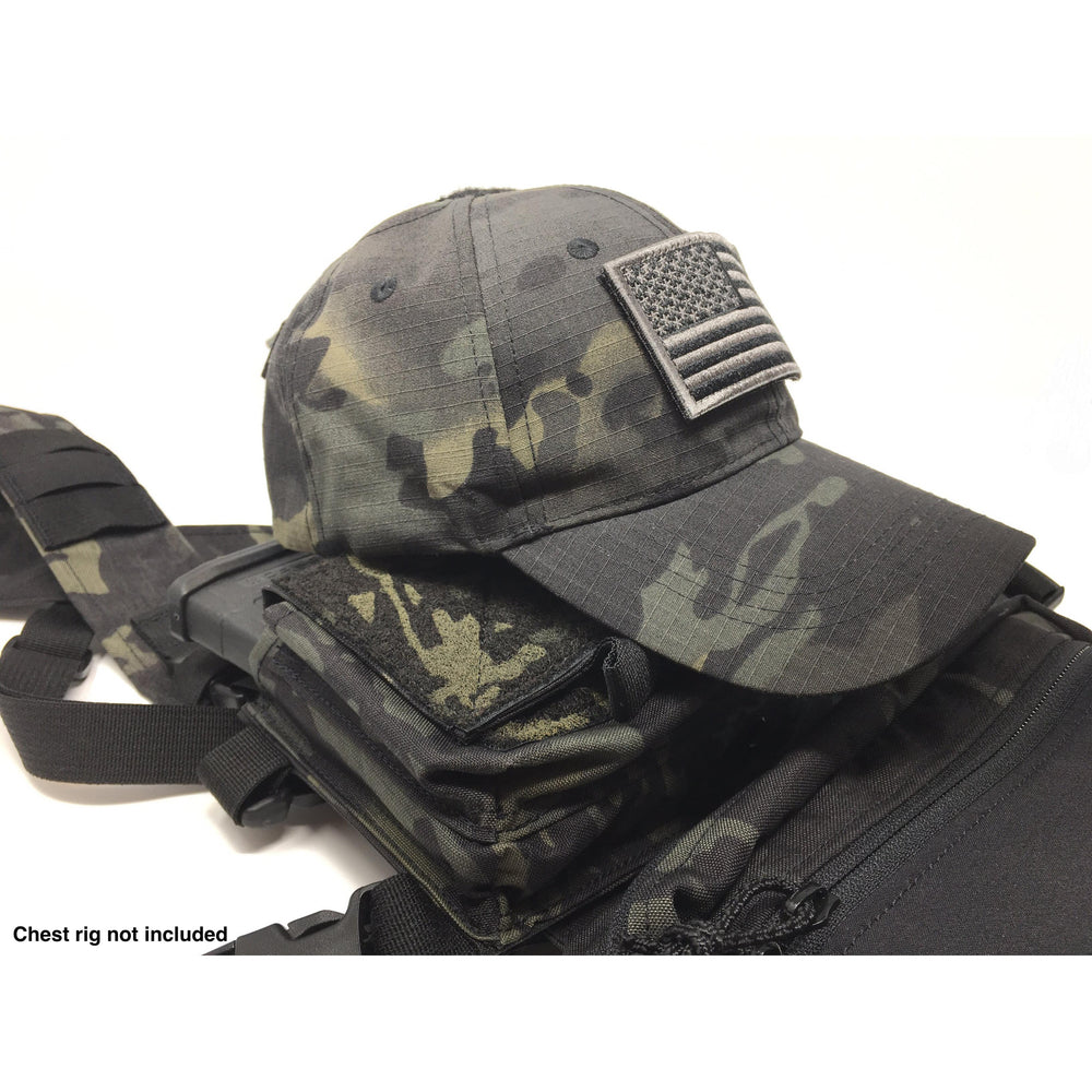 EMPTACSPLY Multicam Black Tactical Cap Bundle with USA Flag Patches