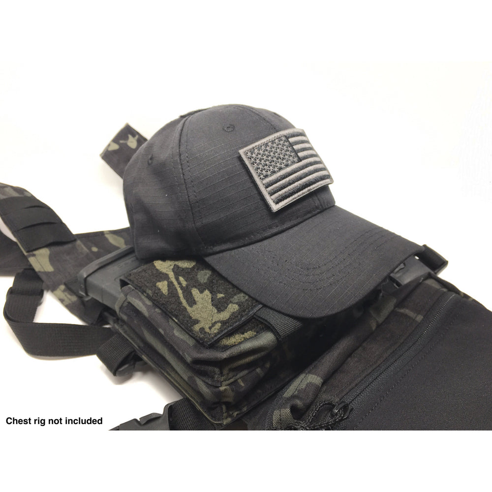 EMPTACSPLY Black Tactical Cap Bundle with USA Flag Patches