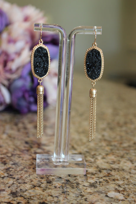 Inspired Tassel Earrings - Black