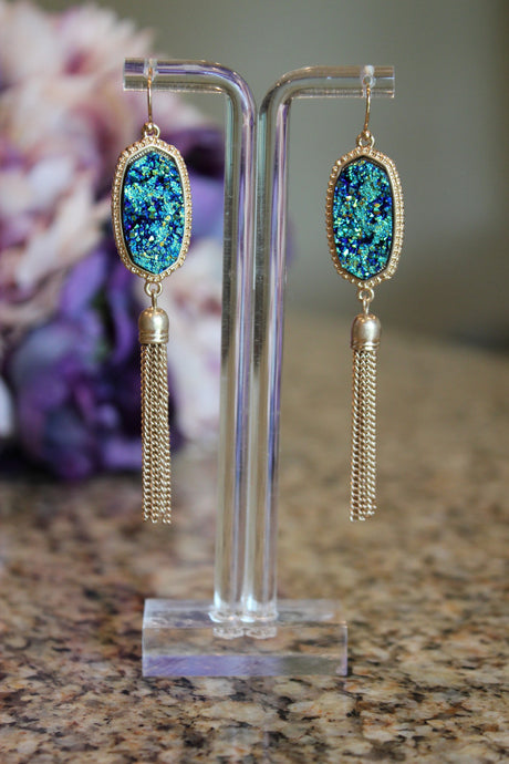 Inspired Tassel Earrings - Aqua Marine