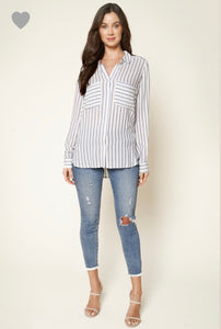 Cara Striped Woven Blouse