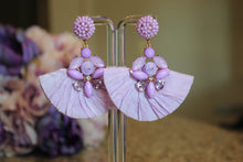 Glam Lilac/Black Fan Earrings