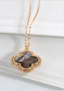 Brown Ivory Clover Necklace