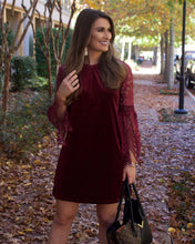 Wine Velvet Lace Keyhole Dress