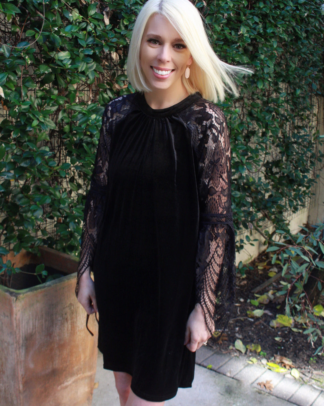 Black Velvet Lace Keyhole Dress