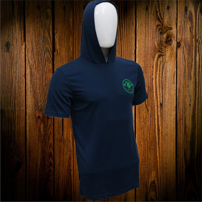 Navy Hooded Short Sleeve Performance Shirt