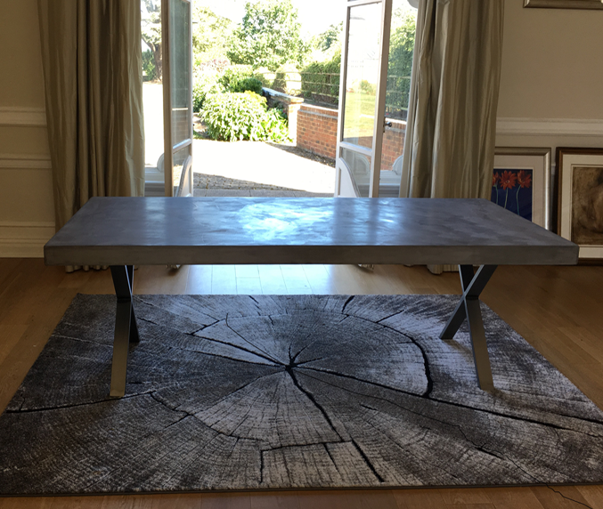 Mid Grey Polished Concrete Dining Table with X Design Legs