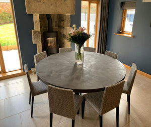 Round Polished Concrete Dining Table in Mid Grey