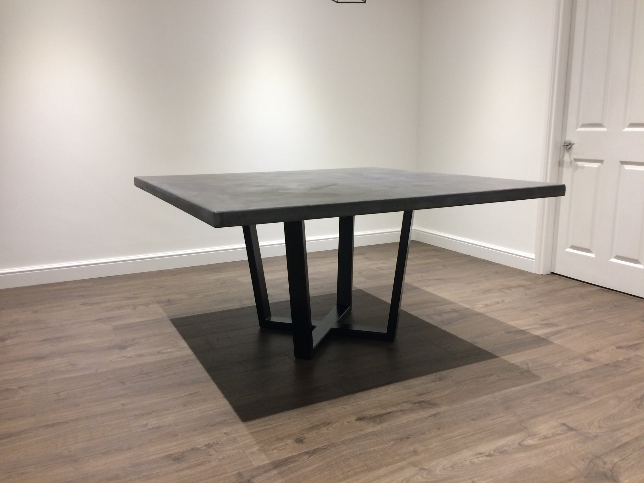 Mid Grey Polished Concrete Square Dining Table With Steel Pedestal Bas Daniel Polished Concrete