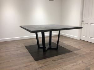 Mid Grey Polished Concrete Square Dining Table with Steel Pedestal Base