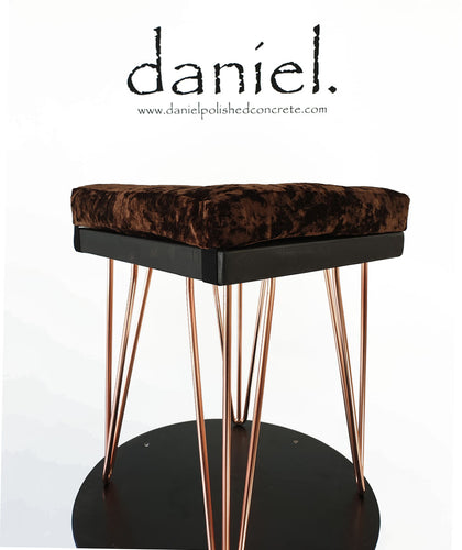 Charcoal Polished Concrete Stool/Table with Copper Plated Hairpin Legs