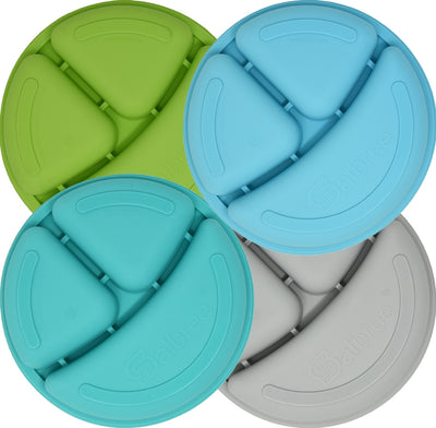 Salbree Divided Toddler Plates Set - Green, Light blue, Aqua, Gray