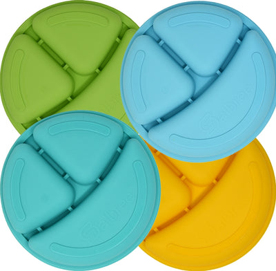 Salbree Divided Toddler Plates Set - Green, Light blue, Aqua, Yellow